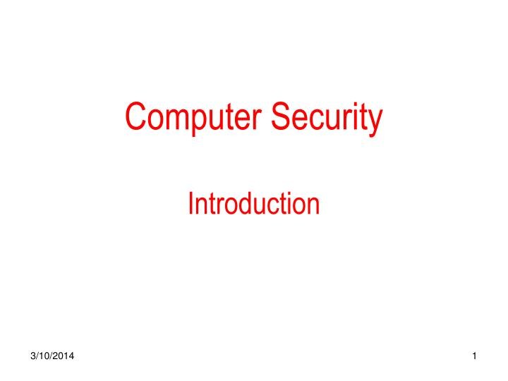 Computer security introduction