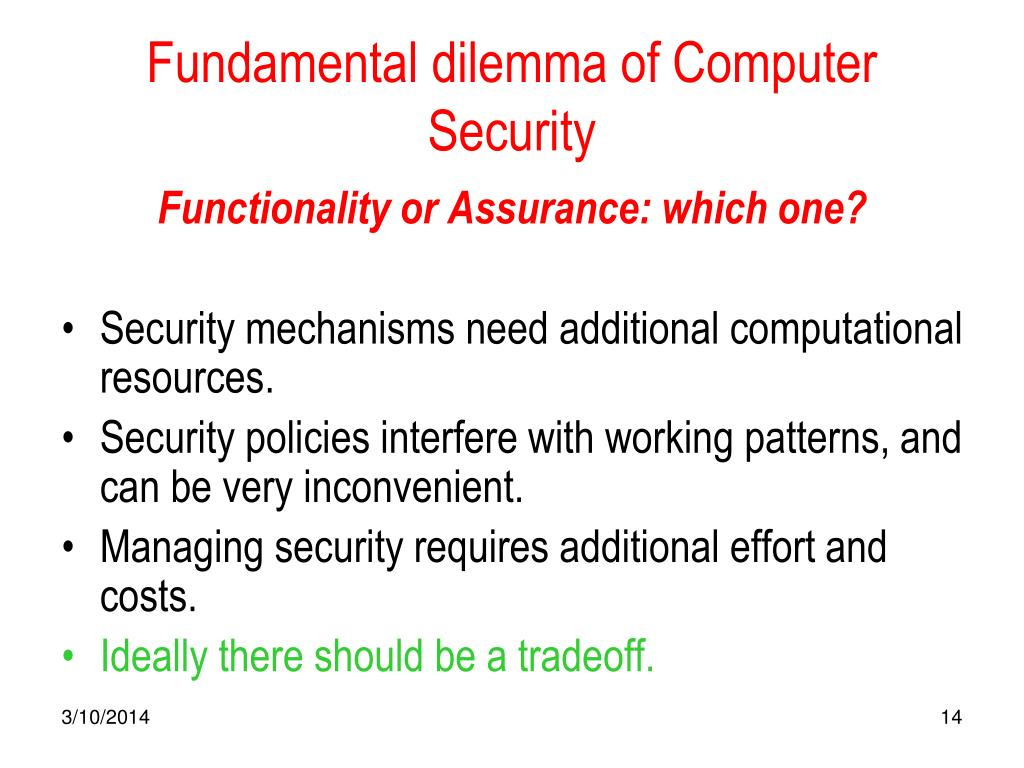 Fundamental dilemma of Computer Security
