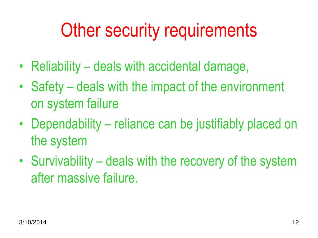 Other security requirements
