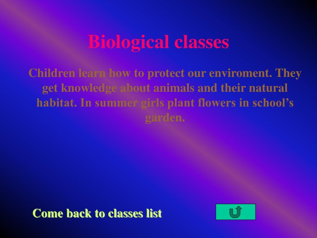 Biological classes