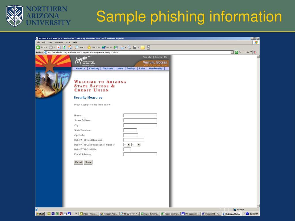 Sample phishing information