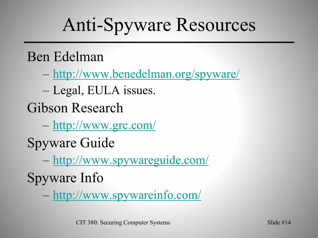 Anti-Spyware Resources