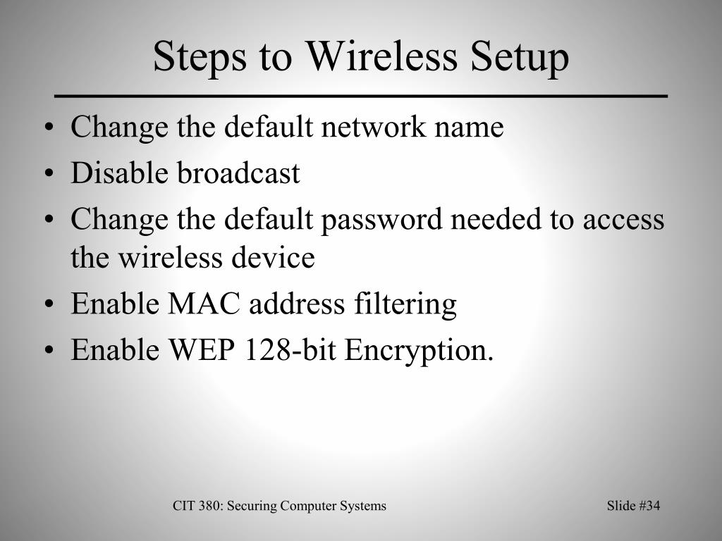 Steps to Wireless Setup
