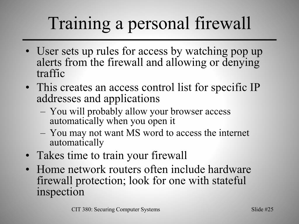 Training a personal firewall