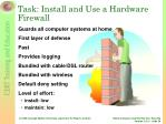 task install and use a hardware firewall