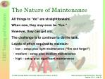 the nature of maintenance