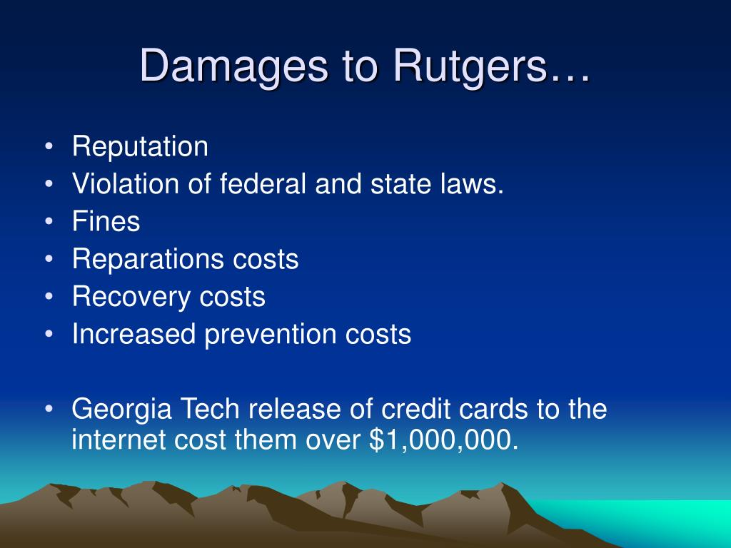 Damages to Rutgers…