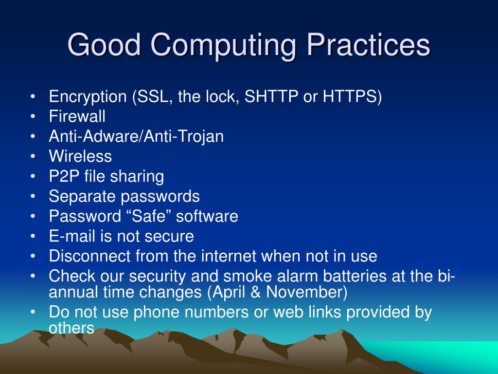 Good Computing Practices