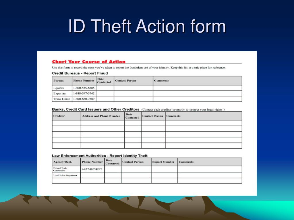 ID Theft Action form