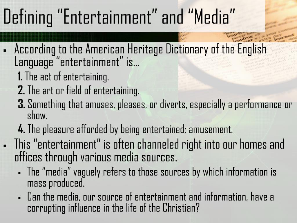 "Defining ""Entertainment"" and ""Media"""