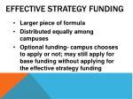 effective strategy funding