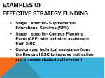 examples of effective strategy funding