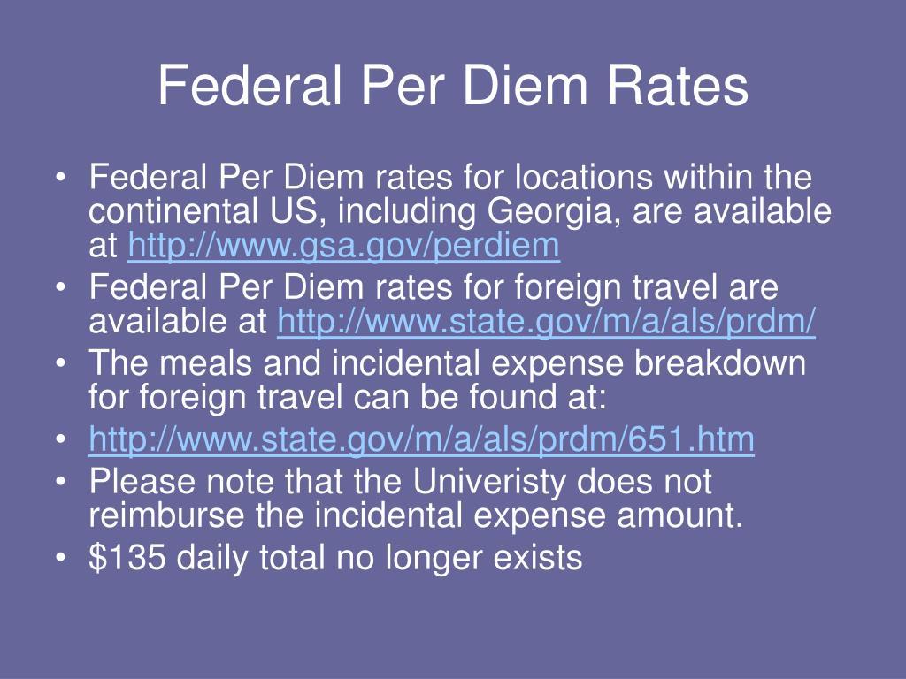 Federal Per Diem Rates