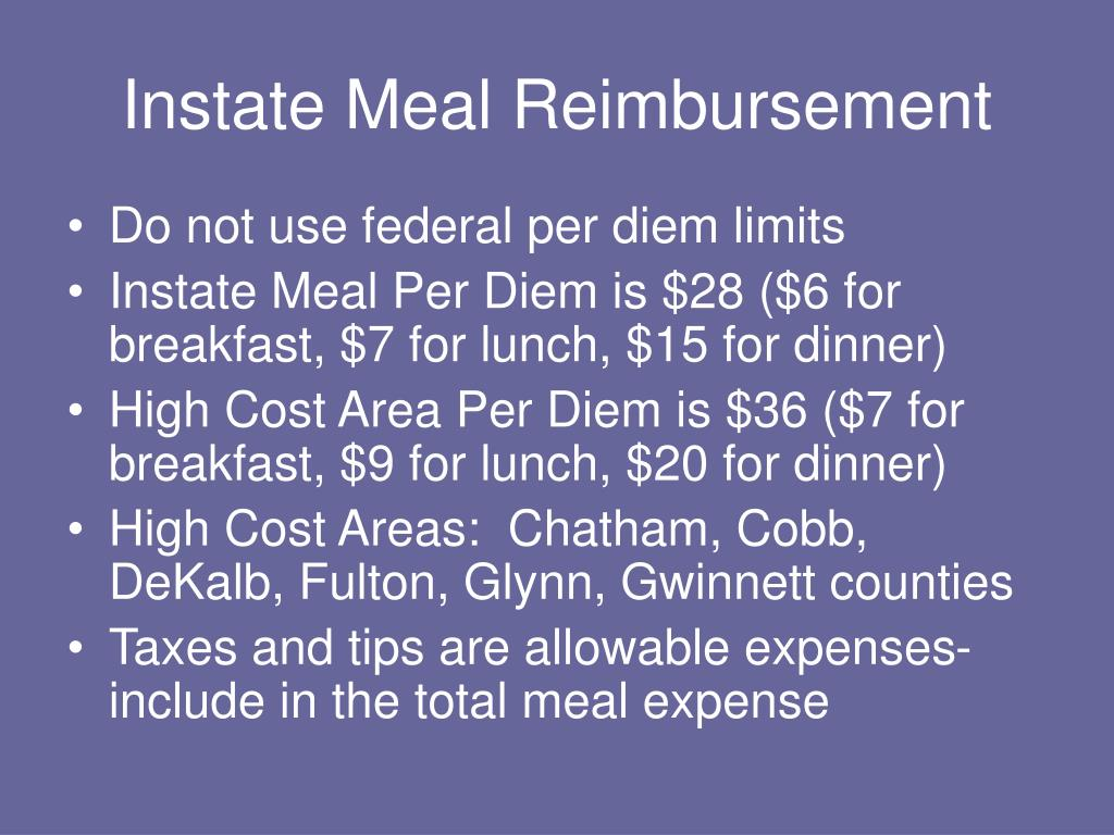 Instate Meal Reimbursement
