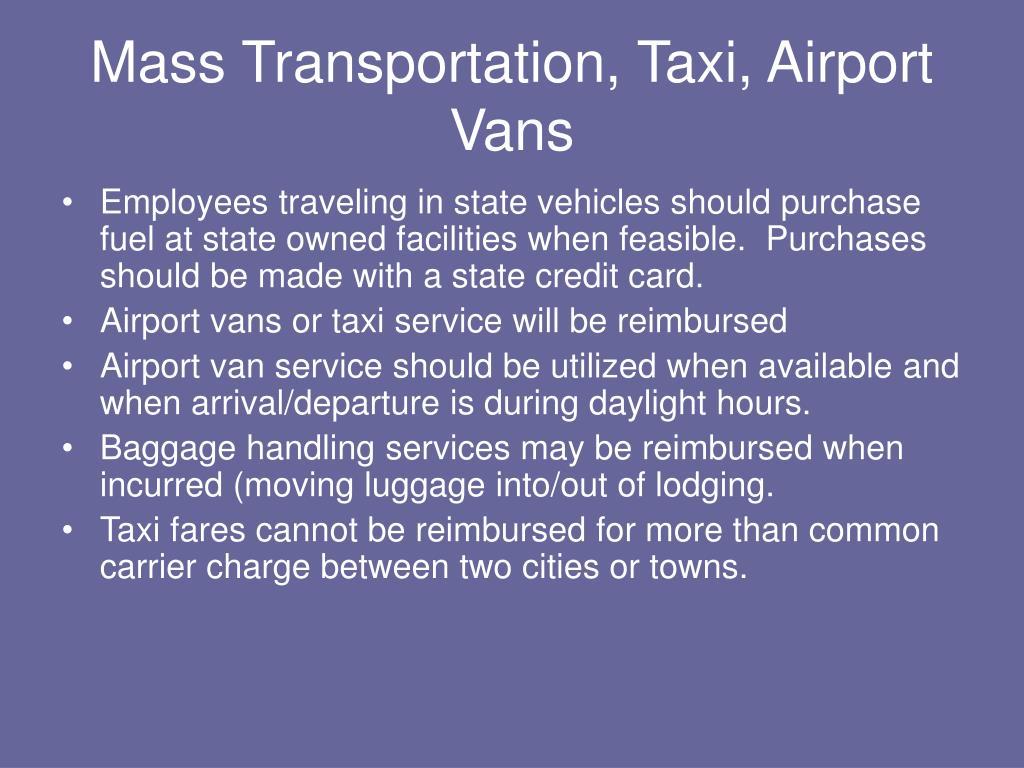 Mass Transportation, Taxi, Airport Vans