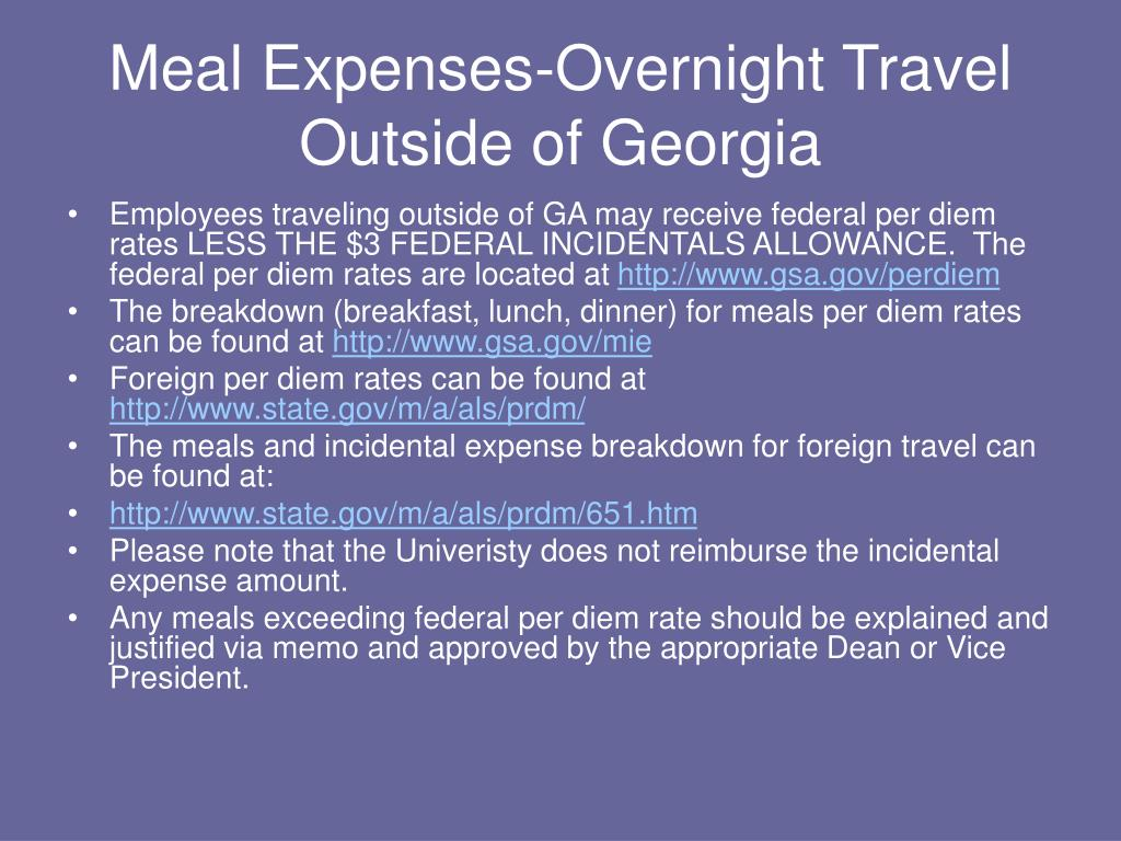 Meal Expenses-Overnight Travel Outside of Georgia