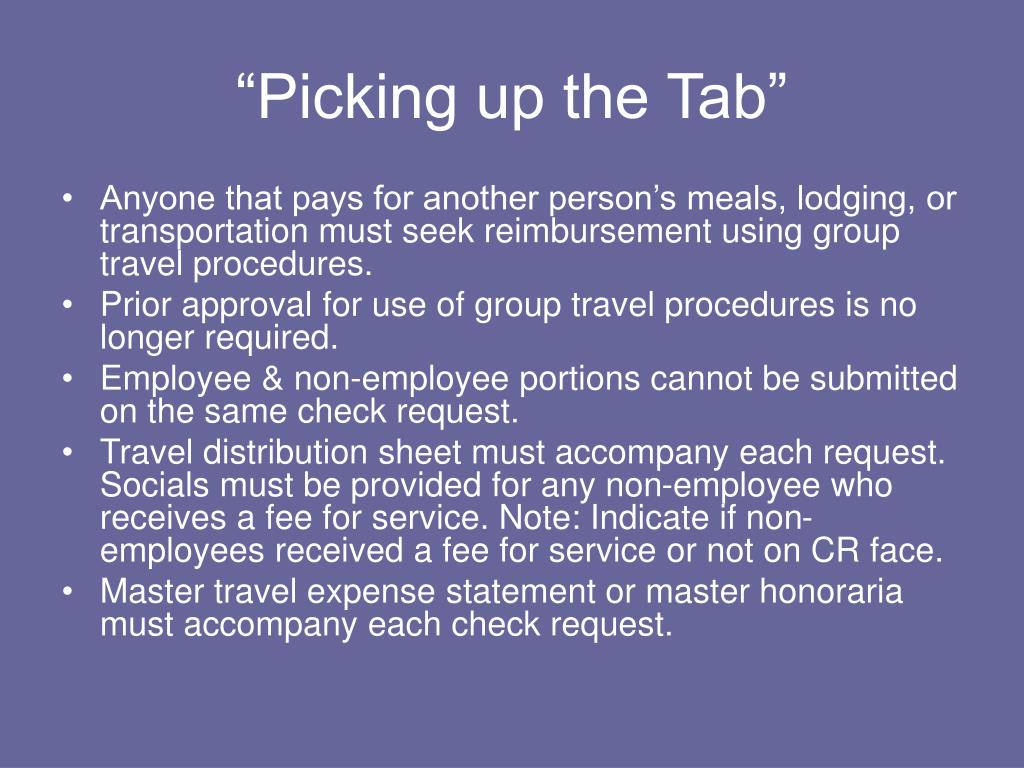 """Picking up the Tab"""