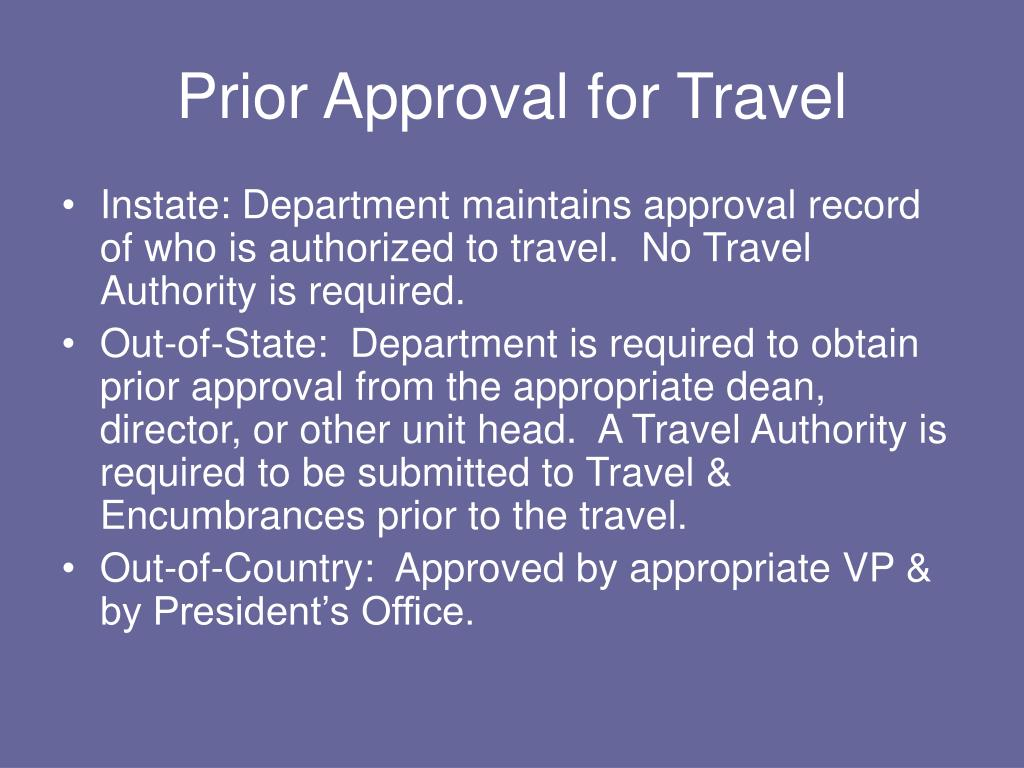 Prior Approval for Travel