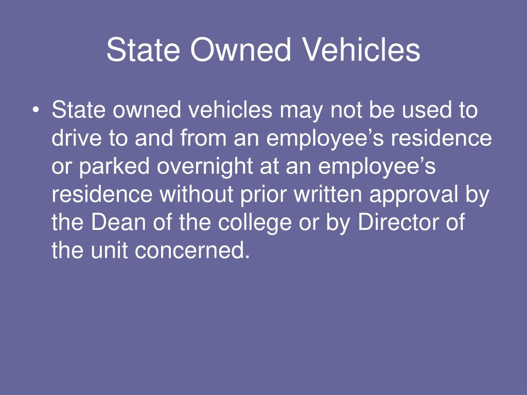 State Owned Vehicles
