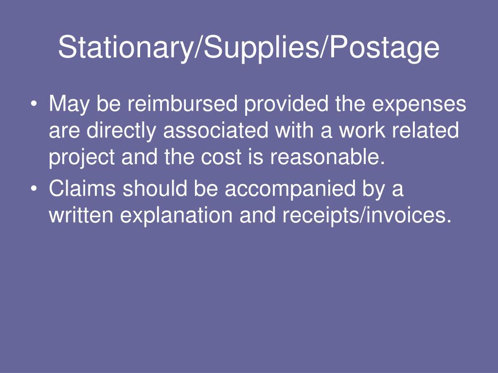 Stationary/Supplies/Postage