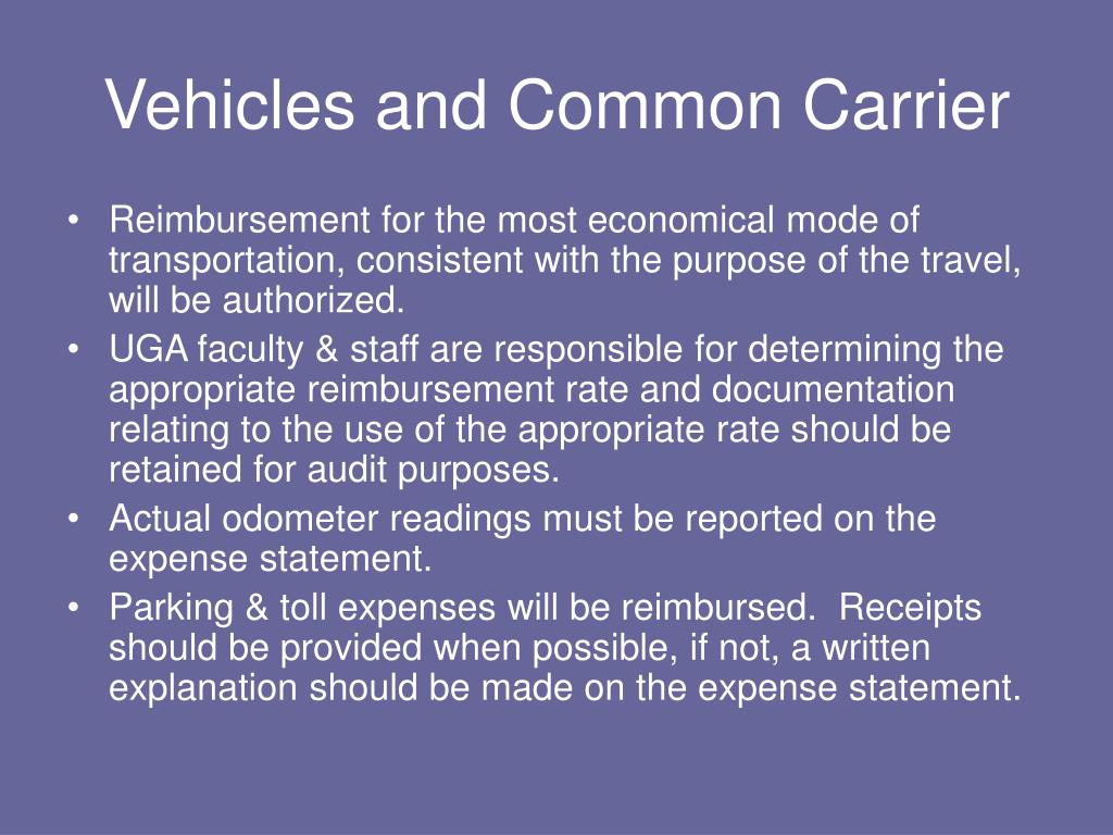 Vehicles and Common Carrier