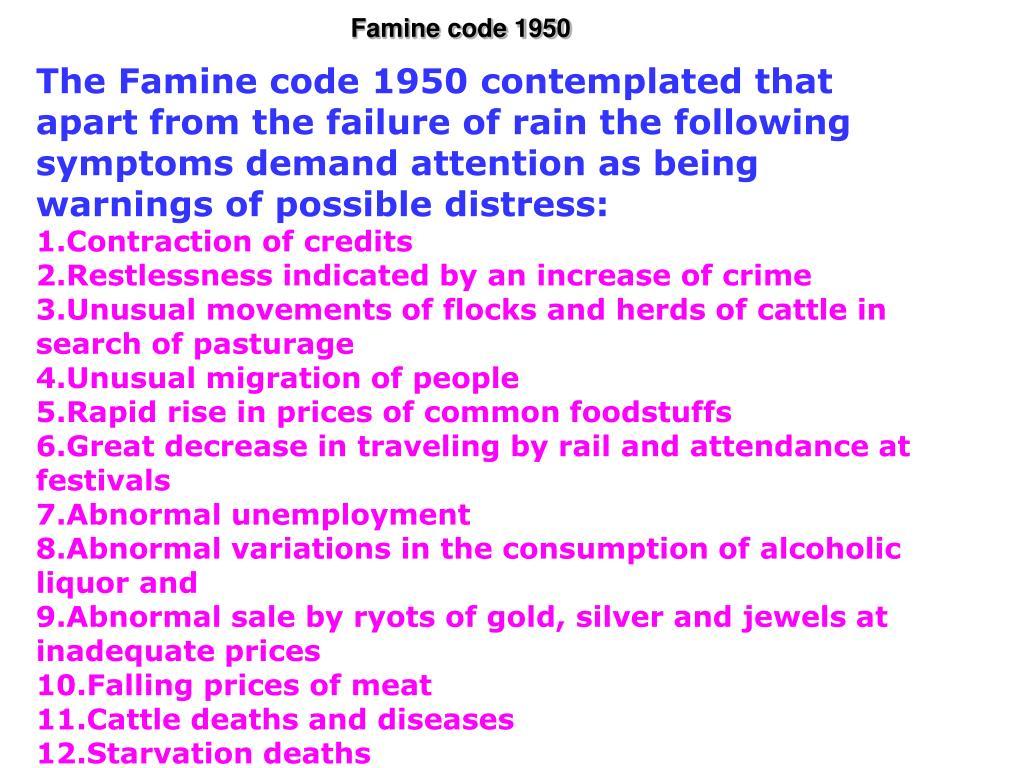 Famine code 1950