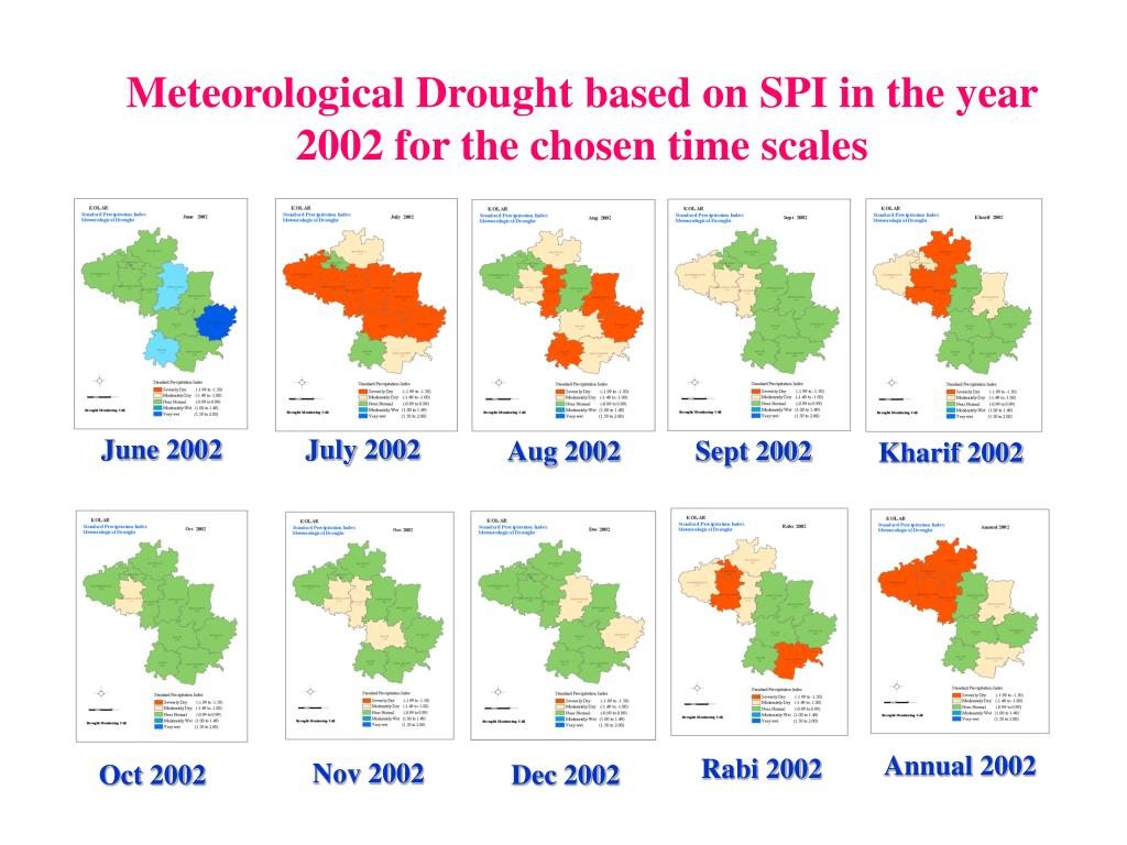 Meteorological Drought based on SPI in the year 2002 for the chosen time scales