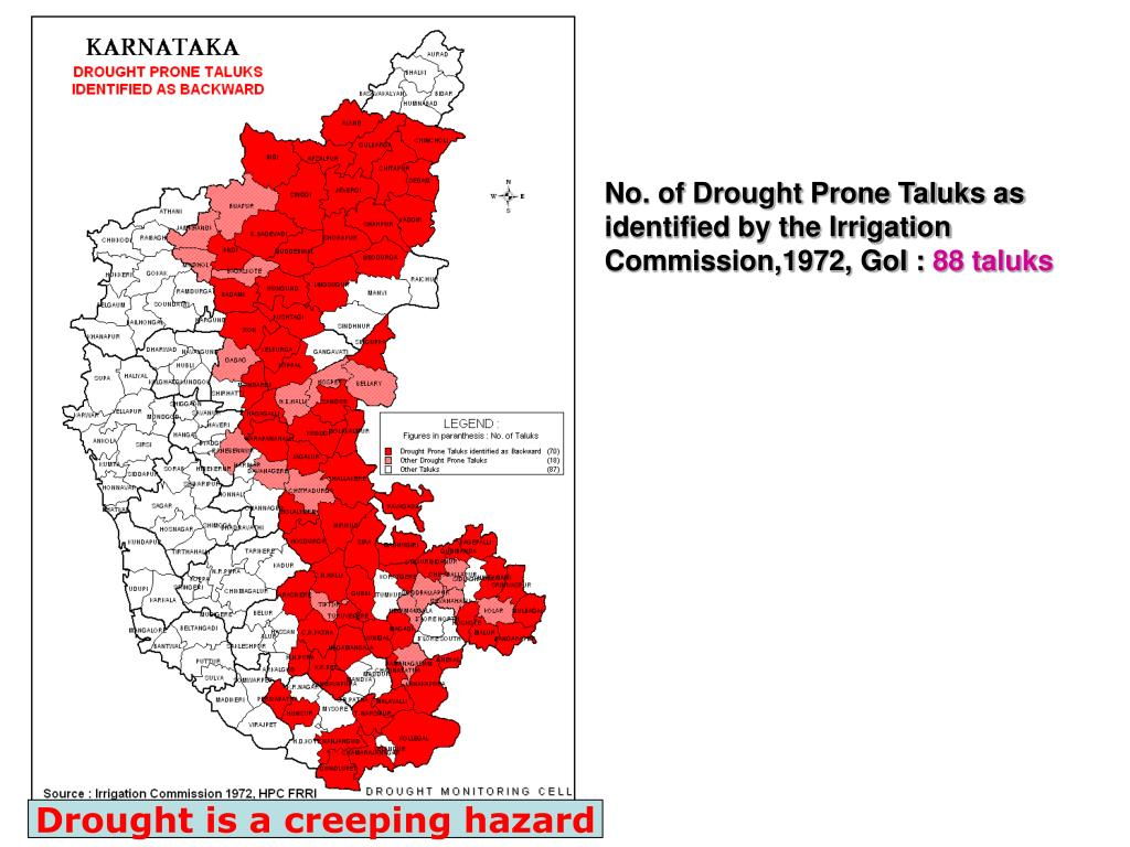 No. of Drought Prone Taluks as identified by the Irrigation Commission,1972, GoI :