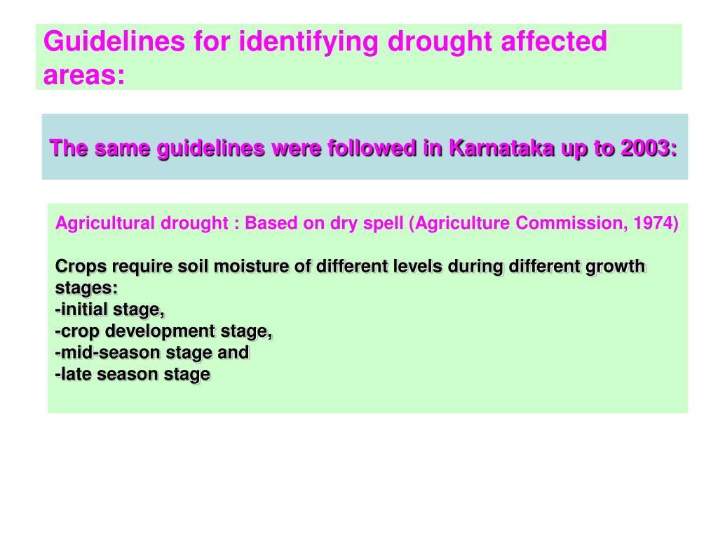 Guidelines for identifying drought affected areas: