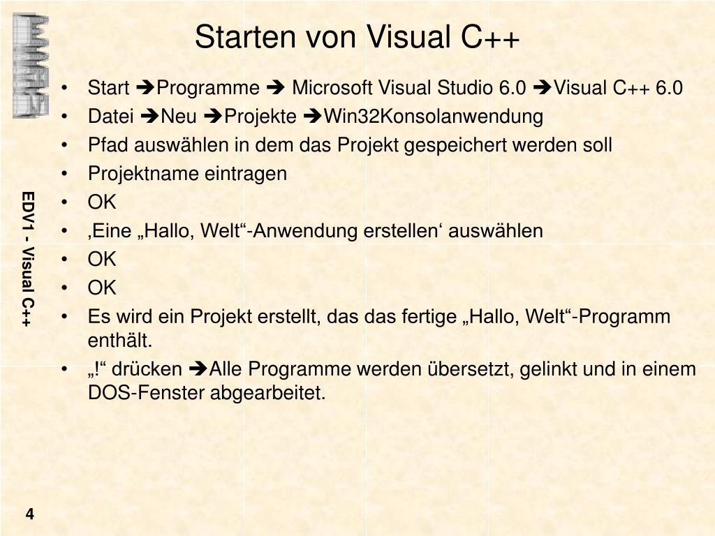 Starten von Visual C++