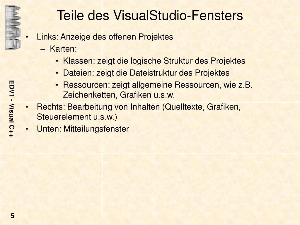 Teile des VisualStudio-Fensters