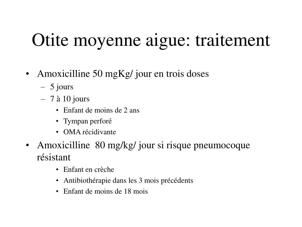 Otite moyenne aigue: traitement