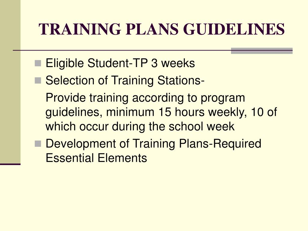 TRAINING PLANS GUIDELINES
