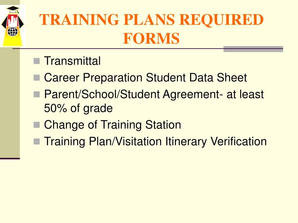 TRAINING PLANS REQUIRED FORMS