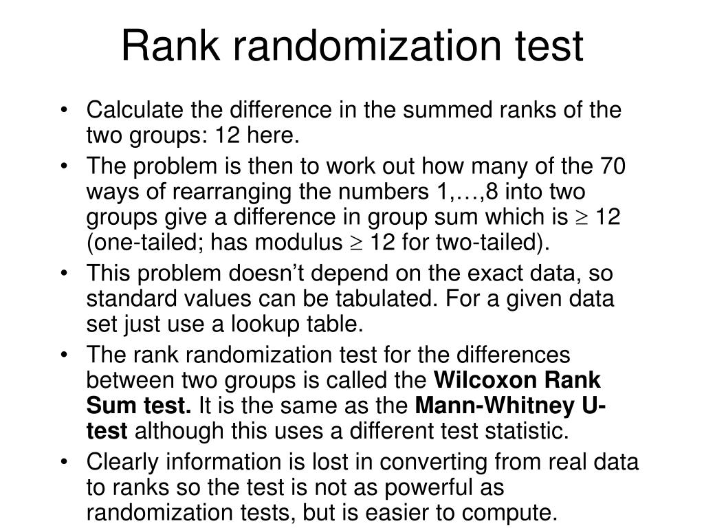 Rank randomization test