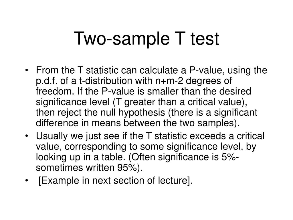 Two-sample T test