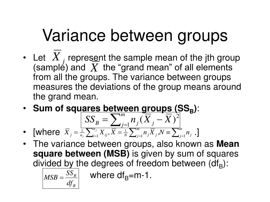 Variance between groups