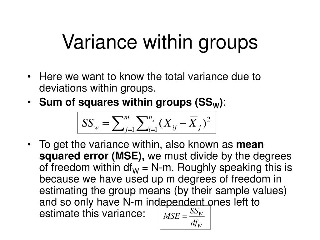 Variance within groups
