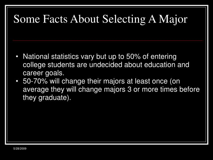 Some facts about selecting a major