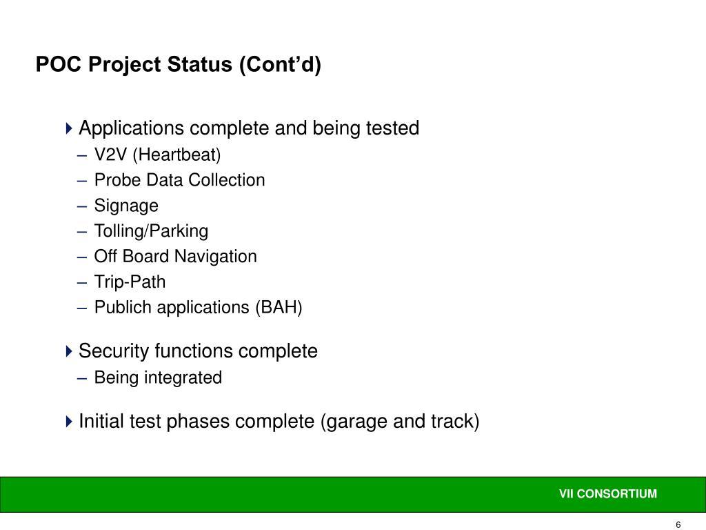 POC Project Status (Cont'd)