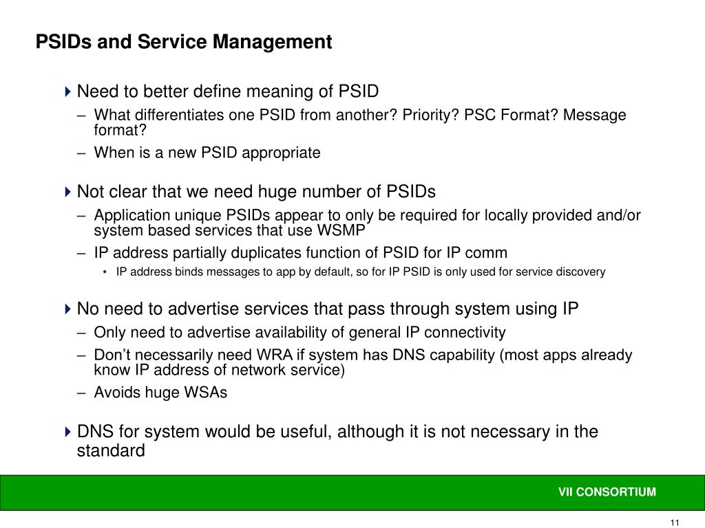 PSIDs and Service Management