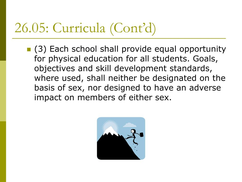 26.05: Curricula (Cont'd)