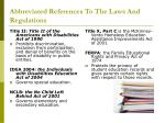 abbreviated references to the laws and regulations3