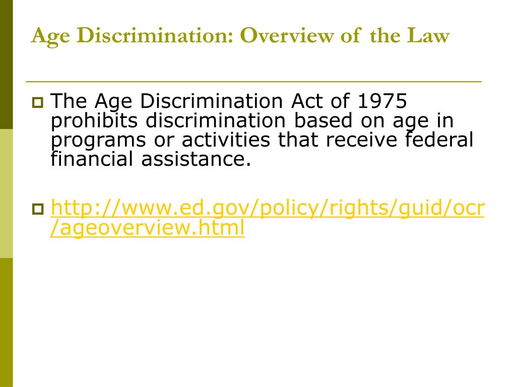 Age Discrimination: Overview of the Law
