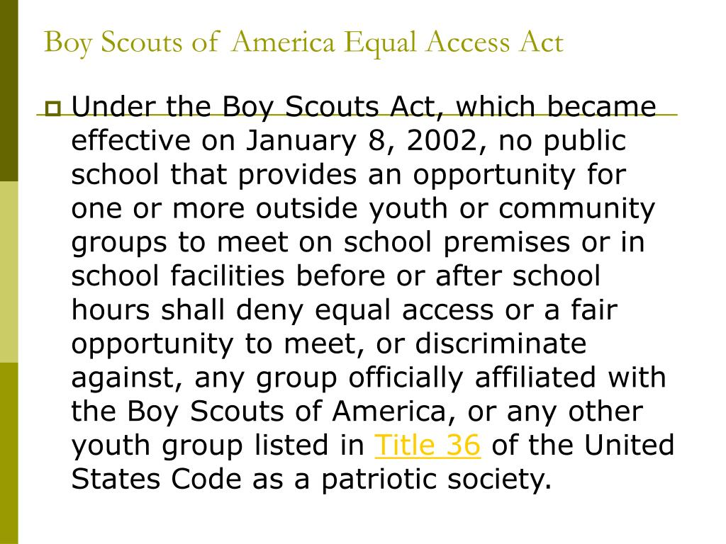 Boy Scouts of America Equal Access Act