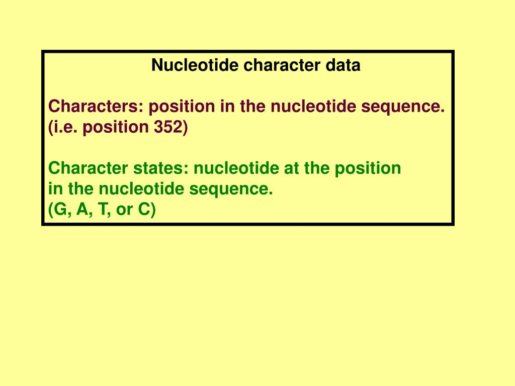 Nucleotide character data
