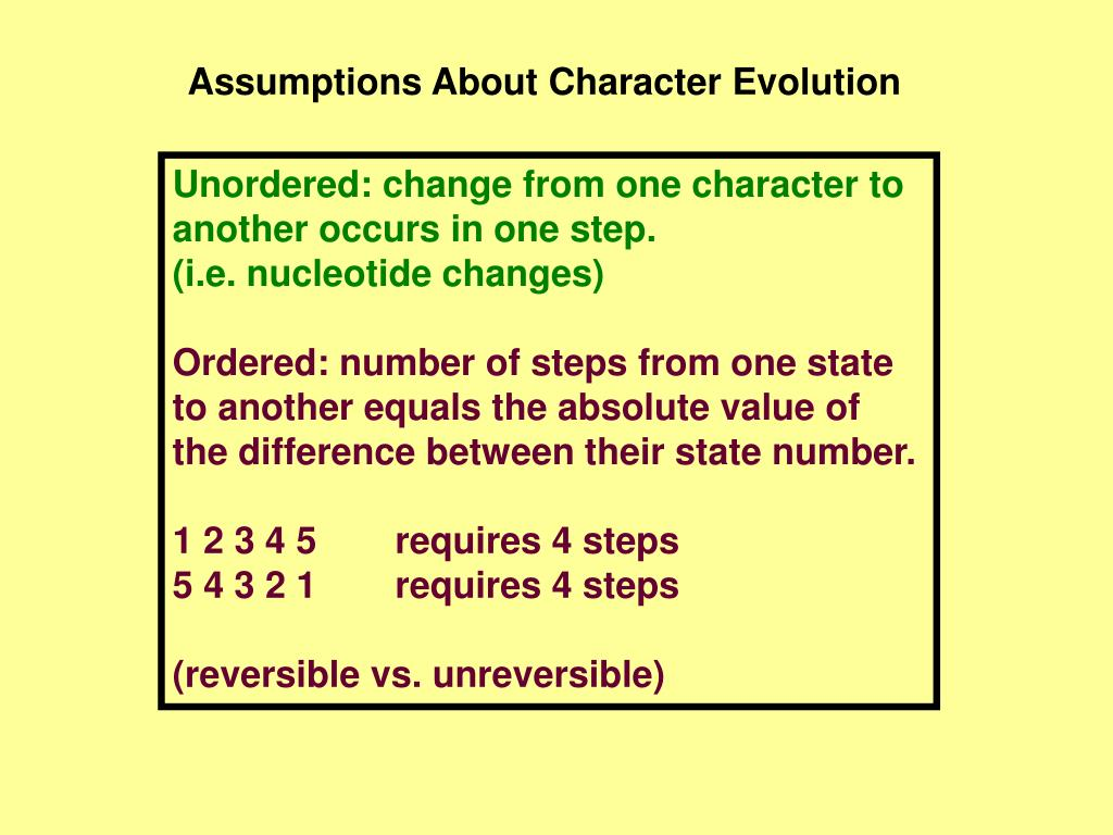 Assumptions About Character Evolution