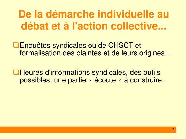 De la démarche individuelle au débat et à l'action collective...