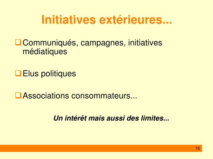 Initiatives extérieures...