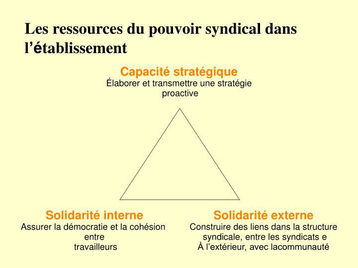 Les ressources du pouvoir syndical dans l